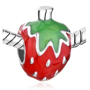 Wholesale Fruit shape Jewelry Enamel Romantic Strawberry Beads Girls Most Love Charms for European Women Bracelets