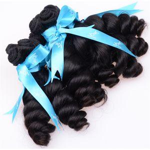 Sin procesar Tía Funmi Cabello Bouncy Rizos Pelo peruano Huevo Rizo Romance Rizo Brasileño Extensiones de cabello humano Virgin Fumi Máquina Tejido 4 unids