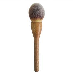 Profesional de lujo 100% Original manija de nogal sintético colorete en polvo polvo suelto pincel de maquillaje cepillo hecho a mano B43