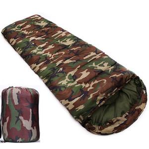 Wasserdichte Camouflage Camping Schlafsack 3 Saison Baumwolle Füllung Umschlag Stil Armee Mit Kapuze Militär Schlafsäcke Angelausrüstung