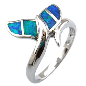 blue opal jewelry with cz stone;fashion opal rings ,whale tail rings