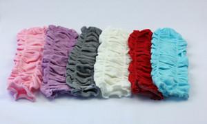 Muchacha de los niños de color sólido arruga Pierna más cálido algodón legwarmer leggings niño calcetines Medias 12pairs / lote