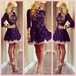 New Style Short Lace Cocktail Dresses 3 4 Sleeve Crew Neck A-Line Mini Lace Tulle Short Prom Gown Ladies Party Dresses Custom Made C46