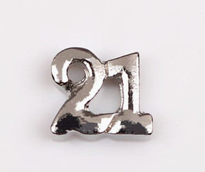 20PCS lot Silver Twenty One Celebrate Birthday Number 21 Charms Fit For Glass Magnetic Floating Locket