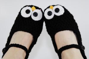 El yapımı Tığ Penguen Terlik Hayvan Terlik-Siyah-Kawaii Aksesuarları Bebek Tığ Patik Bebek Kız Ayakkabıları ilk yürüteç ayakkabı