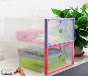 2016 New Plastic Transparent Drawer Case Shoe Storage Organizer Stackable Box Storage Boxes & Bins free shipping