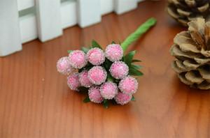Wholesale-10pcs / 400Heads Kleine Beeren künstliche Blumen Red Cherry Stamen Pearlized Hochzeit Simulation Glas Granatapfel Dekoration