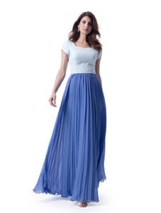 İki Tonlu Mavi Uzun Mütevazı Gelinlik Modelleri Kollu Cap Sleeve Pleats Şifon A-line Onur Onur Elbise Elbiseler Basit Moda Özel Made