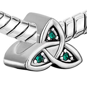 10 pezzi per lotto celtico claddagh irlandese può birthstone perlina verde europeo spacer charm fit bracciale Pandora Chamilia Biagi