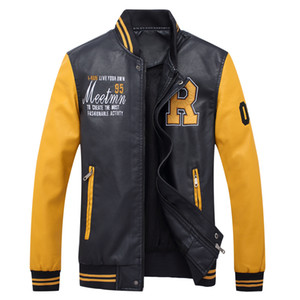 Бесплатная доставка с длинным рукавом pu кожаная куртка человек модные вышивка промывают водой PU новые мужские кожаные пальто