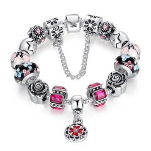 Vendita calda Diy Pandora Bracciale in lega di rame colorato perline Strass in rilievo con perline Bracciale doppio strato Placcatura in argento 925 gioielli