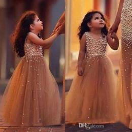 Custom Made 2018 New Pearls Bodice Flower Girl Dresses Tulle Pageant Birthday Party Occasione formale Prima comunione Gonna