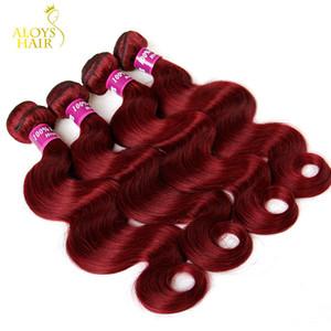Bundles indiani della tessitura dei capelli della Borgogna Grado 8A Vino rosso 99J Indiani dell'onda del corpo dei capelli del Virgin 3/4 pc lotto Estensioni dei capelli umani di Remy del visone indiano del lotto
