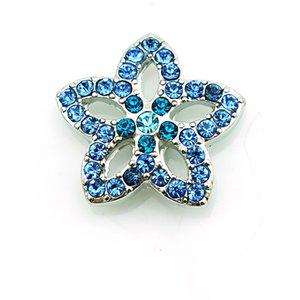 Moda Botões de Pressão de 18mm Azul Rhinestone Flor De Metal Casp DIY Intercambiar Pulseiras Acessórios Jóias