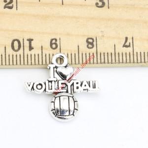 20pcs tibétain argent plaqué mot j'aime charmes de volley-ball pendentifs pour la fabrication de bijoux bricolage à la main 19x21mm