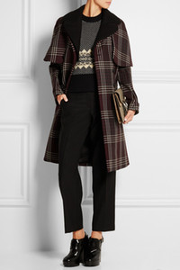 Plaid Gird Women Coat Double Breasted Turn Down Collar Trench 115671