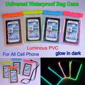 Borsa impermeabile universale luminoso PVC trasparente subacquea Custodia durevole copertura di caso per iphone 6 6s più per Samsung nota 5/4 S6 S5
