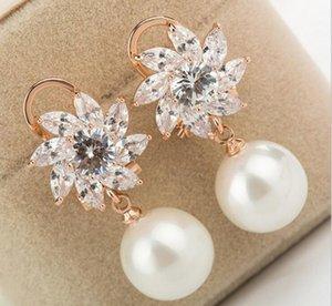 version coréenne de l'oreille délicate zircon diamant brillant de la mode Bauhinia boucles d'oreilles perle hypoallergéniques gros personnalisés