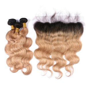 Honey Blonde Ombre Объемная волна Волнистые пучки волос с кружевом Фронтальная Двухцветная 1b 27 От уха до уха Фронтальная с волосами объемной волны