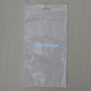 """12x23cm (4.7 """"x9.1"""")은 화이트 / 클리어 자기 인감 지퍼 잠금 가방 소매 파우치 폴리 가방 꽉 구멍을 포장 플라스틱 지퍼 인감 포장"""