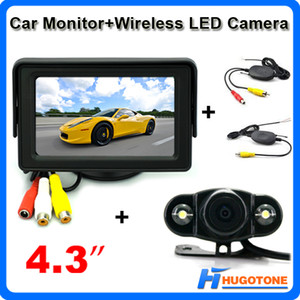 "Mini 4.3 ""Car Wireless Rearview Camera Monitor 2 Videos Entrada 2.4GHz Wireless 2 LEDS Parking Rearview Camera"