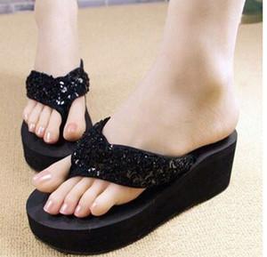 Wholesale-2015 nuevas zapatillas Amii amy zapatillas femeninas cuñas plataforma elevadora flip antideslizante playa paillette fracasos