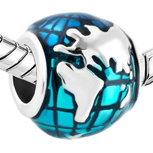 Retail Blue Ocean Earth Shaped Lucky European Charm Large Hole Metal Slide Bead Fit Pandora Bracelet