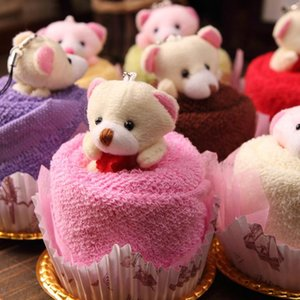 Oso de peluche encantador Cake Towel 30 * 30 cm mini toalla Boda Navidad San Valentín regalos de cumpleaños Baby shower favorece recuerdos de regalo