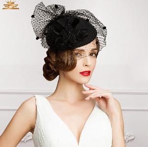 Vintage nouveau style noir couleur tulle + plume mariage chapeaux de mariée soirée / fête headwears à la mode