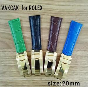 Correa de 20 mm para la correa de cuero genuino Rolex SUB / GMT. Accesorios duraderos con hebilla de acero original dorada.