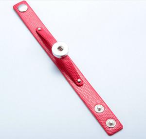 8 cores 18mm noosa botão snap botão pulseira pulseira liga de cobre + pulseira de couro PU adustable pulseira 1 botão jewlery acessórios