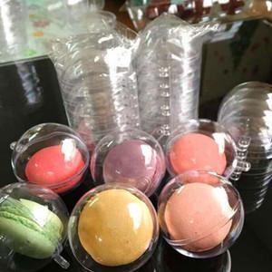 1000pcs / lot 5cm Diametro Macaron Palla di Natale in plastica decorativo trasparente Candy Box con foro sporgente