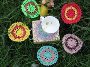 30piece Crochet modello 6 colori sottobicchieri panno Crocheted Doilies tabella stuoie tazza tastierino rotondo