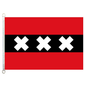 Good Flag Amsterdam Flags Banner 3X5FT-90x150cm 100% Polyester country flags, 110gsm Warp Knitted Fabric Outdoor Flag