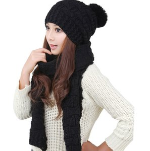 Wholesale-New Winter Hat Women's Cashmere Scarf High Quality Fashion Knitted Hat Scarf Shawl Scarves Warm Free Shipping