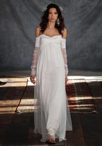 Bohemia Summer Beach Vestidos de novia 2020 Griego Una línea Correas de espagueti Vintage Encaje con ilusión Manga larga Boho Vestidos de novia baratos