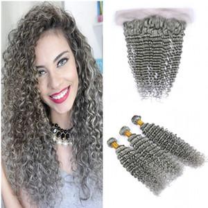 Les cheveux humains #Grey de la vague profonde tisse pour les femmes noires Deep Lace Front bouclée avec des faisceaux Sliver cheveux gris trames avec 13 * 4 dentelle Frontale