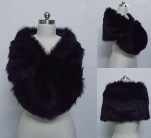 Ücretsiz Kargo Moda Siyah Faux Kürk Wrap Gelin şal Bolero Ceket Ucuz Kış Sıcak Düğün Parti Sarar Için Stokta Sarar Ceketler