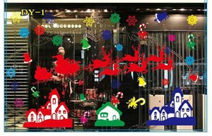 Christmas Glass Showcase Electrostatic Stickers Snowflake Santa Claus Wapiti Wall Sticker Colorful Showcase X-mas Decoration Mix 8 Styles