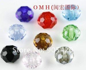 OMH vente en gros 200pcs 4mm 13colors ou noir blanc couleur mélangée à choisir rondelle rond perles intercalaires en verre perles de cristal de verre Sj95