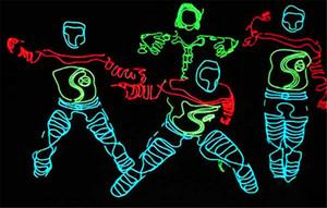 3M Flexible Neon Light Glow EL Cable de la cuerda de alambre Flexible Neon Light 8 colores Car Dance Party Costume + Controller Christmas party Decor Light