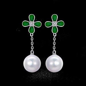 18KGP Clover Stud Earrings High Grade Work Pearl Earrings Jewelry Luckly Flower Fine Earrings Jewelry GD5013