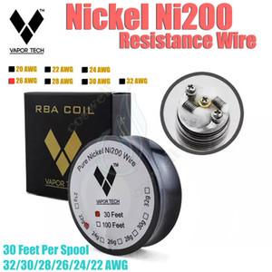 Authentique fil de résistance au nickel pur VAPOR TECH Ni200 30 pieds multi contrôle de la température de vapeur de la jauge TC mods RDA e cig atomiseur DIY pré-bobine