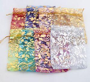 2017 8colors 9X12cm 골드 로즈 디자인 Organza 가방 보석 선물 주머니 캔디 가방 GB038 뜨거운 판매