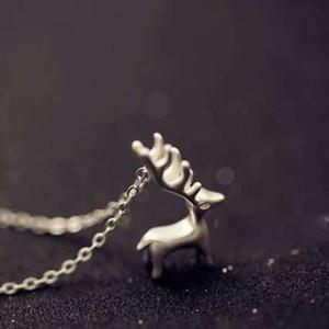 925 artículos de plata esterlina joyería de cristal ciervos cervatillo colgante declaración collares boda encantos superior de la manera de la vendimia