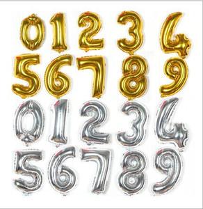 """16 """"Gold Silver Lettere Foil Balloons 0-9 Numeri Helium Mylar Balloon Matrimonio Natale Compleanno bambini spettacolo Decorazione del partito E466L"""