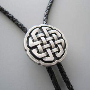 Мужчины кожа ожерелье галстук клип оригинальный античный реального посеребренные кельтский крест узел Боло галстук ожерелье BOLOTIE-WT070SL новый в наличии