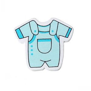 Adornos de madera Beijia Adornos de Scrapbooking Baby Jumpsuit Decoración de la fiesta de bienvenida al bebé azul 3.4cm x 3.1cm, 50 PC