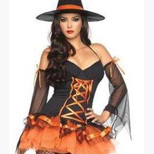 O Estilo Europeu E Americano De Senhora Adulto Halloween Traje Da Bruxa Mágica Cosplay de Abóbora Princesa Traje Do Partido