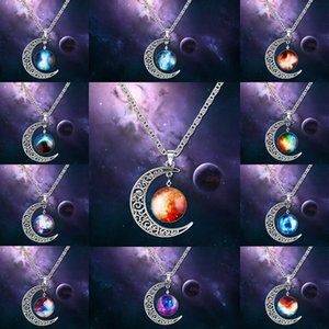 Fashion galaxy planet collane con pendenti Moon cabochons Glass world Starry space Collana di pietre preziose Moonstone Per gioielli da donna choker